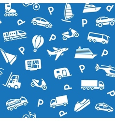Seamless background white transport icons vector