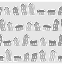 Monochrome paper town seamless pattern vector