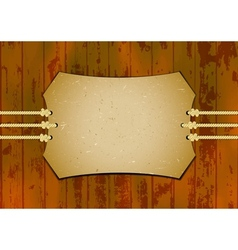 Card on the ropes with wooden background vector