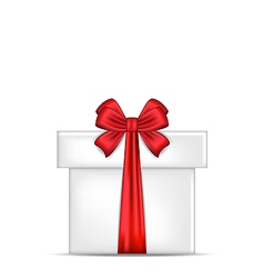 Gift box with red bow isolated vector