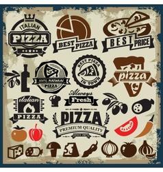 Pizza sign set vector