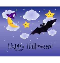 Halloween background with moon and bat vector
