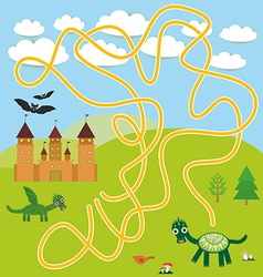 Labyrinth game with castle fairytale landscape vector