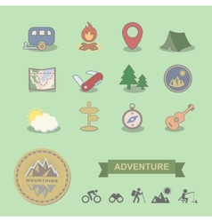 Set of colored camping equipment symbols and icons vector