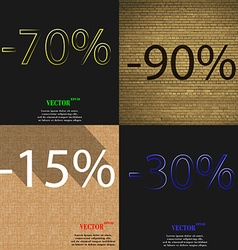 90 15 30 icon set of percent discount on abstract vector