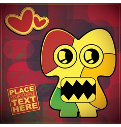 Monster with heart on grunge color background vector
