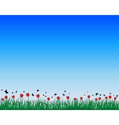 Tulips field background vector