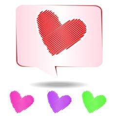 Colorful hearts scribble vector