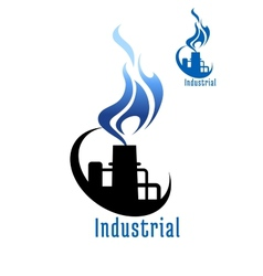 Industrial plant with blue gas flame vector