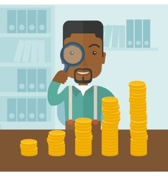 Black man looking at his growing business using vector