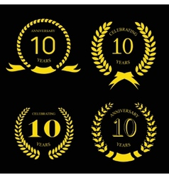 10 years anniversary laurel gold wreath set vector