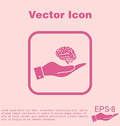 Hand holding a brain mind and science vector