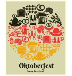 Oktoberfest beer festival label vector