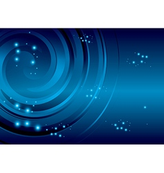 Blue background with stars and abstraction spiral vector