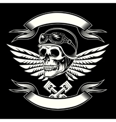 Motor skull graphic motorcycle vintage vector