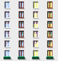 Windows set flat exterior icons vector