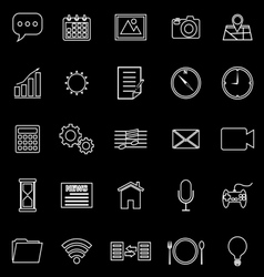 Application line icons on black background vector