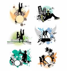 Set of silhouettes music concept vector