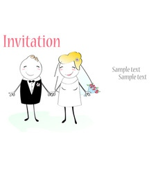 Cartoon wedding invitation vector