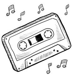 Doodle cassette tape vector