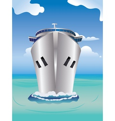 Cruise liner in the sea vector