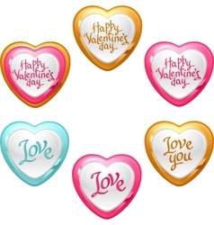 Collection of icons with a shiny glossy hearts vector