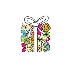 Cute present box from flowers vector