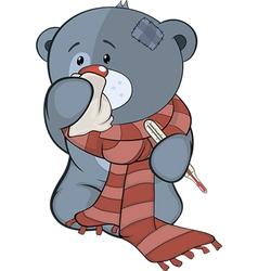 The stuffed toy bear cub and illness cartoon vector