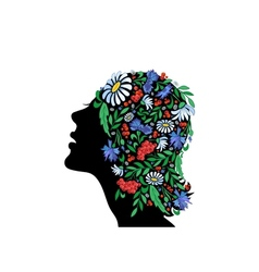Female head with abstract flowers vector