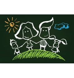 Chalked happy family vector