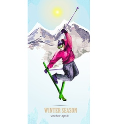 Watercolor greeting card with young man skier for vector