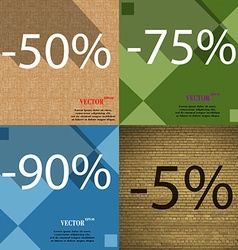 75 90 5 icon set of percent discount on abstract vector