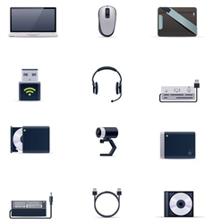 Laptop accessories icon set vector