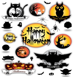 Halloween different elements vector