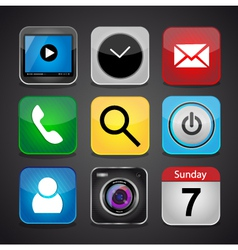 App icon set on a black background vector