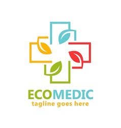 Eco medical organic logo vector