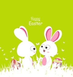 Happy easter green spring with bunny couple and vector