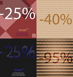 40 25 95 icon set of percent discount on abstract vector