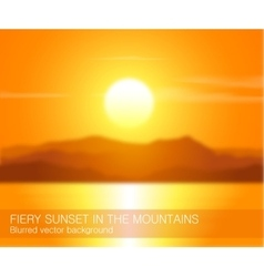 Blurred landscape with sunset over mountains vector