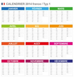 Calendar 2014 french type 1 vector
