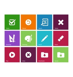 Application interface icons on color background vector