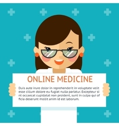 Online medicine banner woman doctor shows text vector