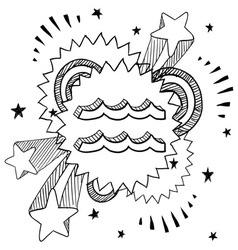 Doodle pop astrology aquarius vector