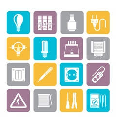 Silhouette electrical devices and equipment icons vector