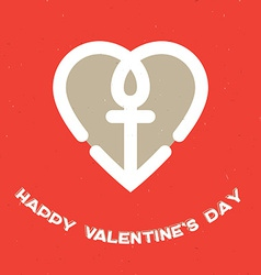 Happy valentines day card with heart and a vector