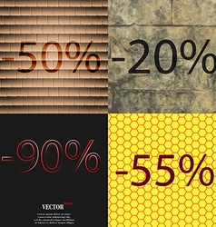 20 90 55 icon set of percent discount on abstract vector