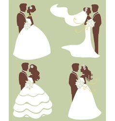 Brides and grooms silhouettes vector