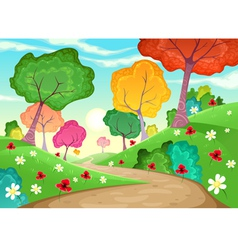 Landscape with multi-colored trees vector