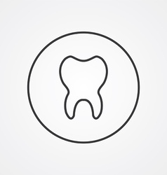 Tooth outline symbol dark on white background logo vector