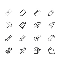 Stationery black icon set vector